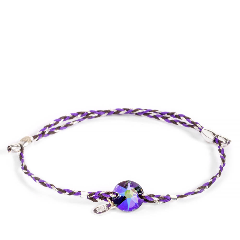 Alex and Ani Inky Purple Braid Paradise Shine Swarovski Crystal Precious Threads Bracelet