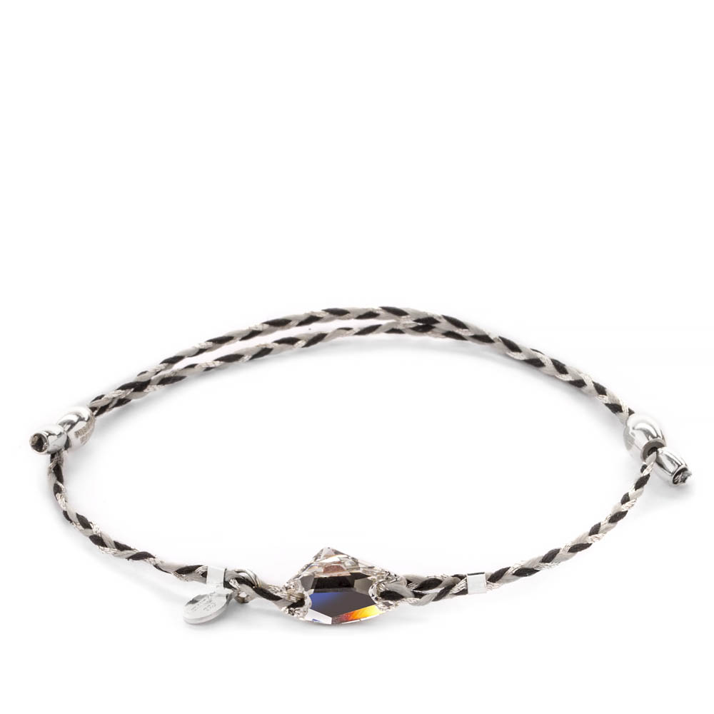 Alex and Ani Silver Crescent Braid Crystal Galactic Swarovski Crystal Precious Threads Bracelet