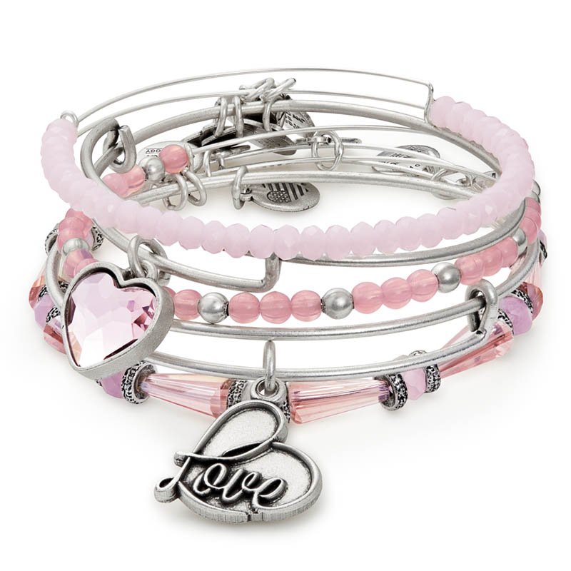 Alex and Ani Alive with Love Set of Five Expandable Wire Bangle Set