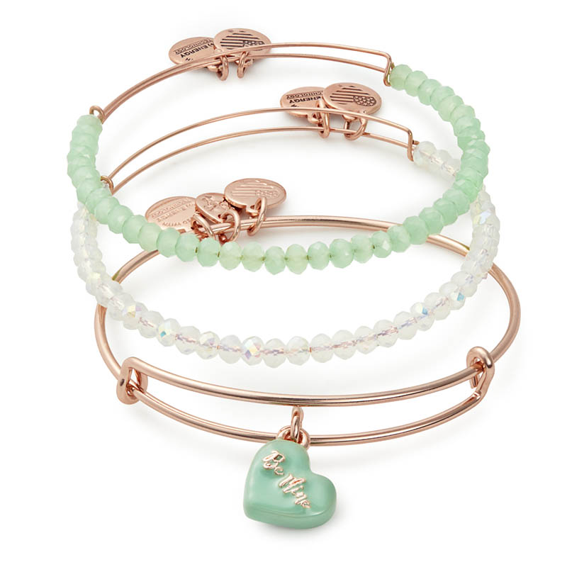 Alex and Ani Sweet Set of Three Expandable Wire Bangle Set in Shiny Rose Gold