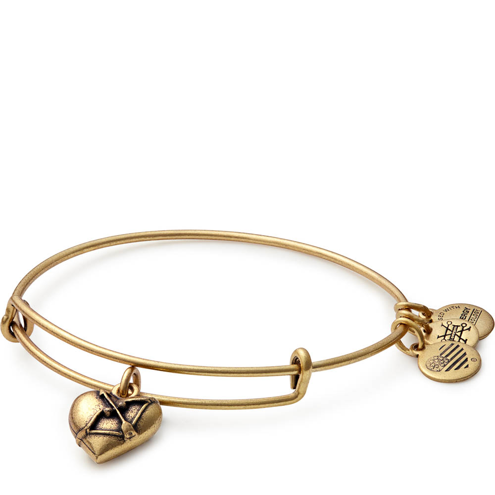 Alex and Ani Cupid's Heart Expandable Wire Bangle in Rafaelian Gold