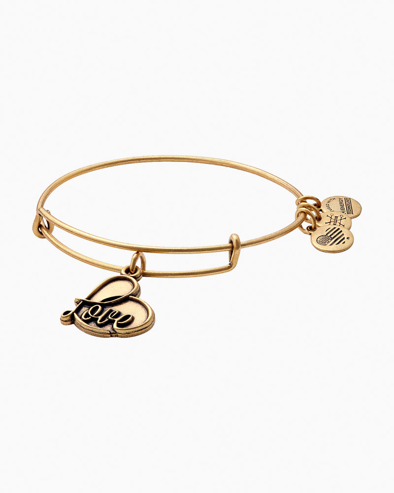 Alex and Ani Love IV Expandable Wire Bangle in Rafaelian Gold