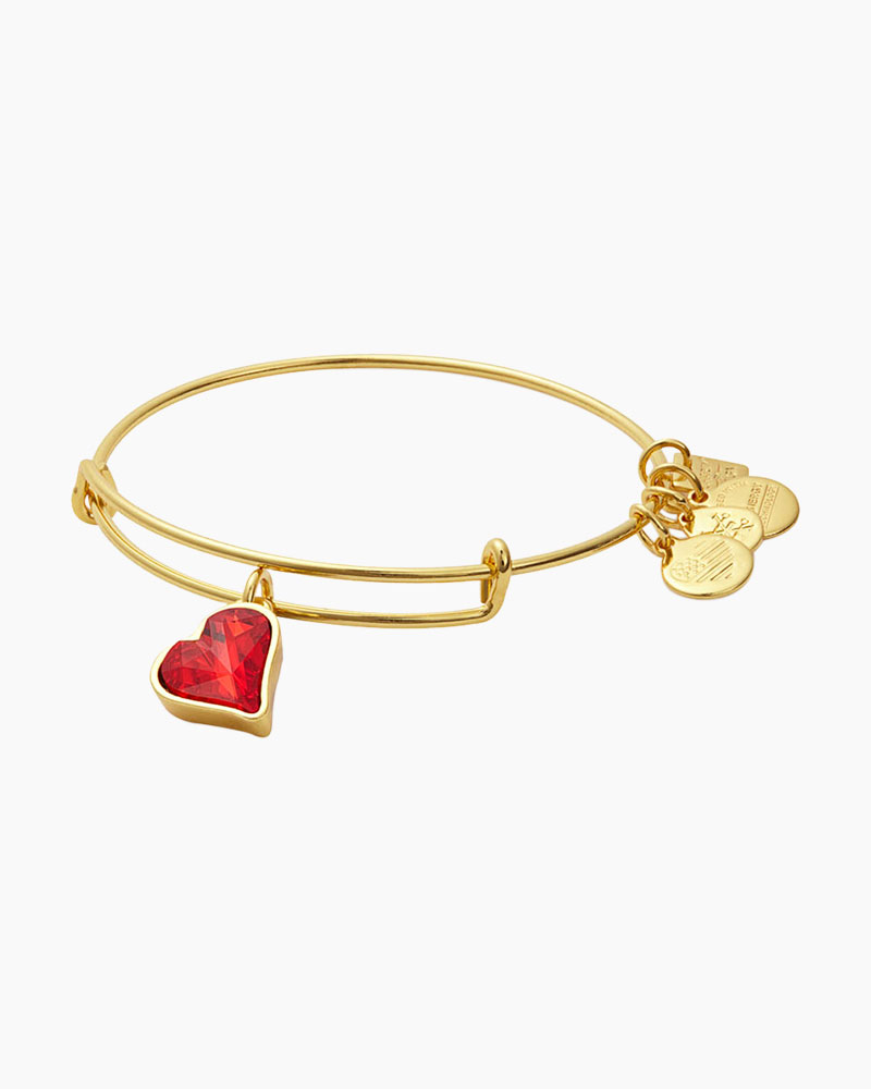 Alex and Ani Heart of Strength Expandable Wire Bangle in Shiny Gold