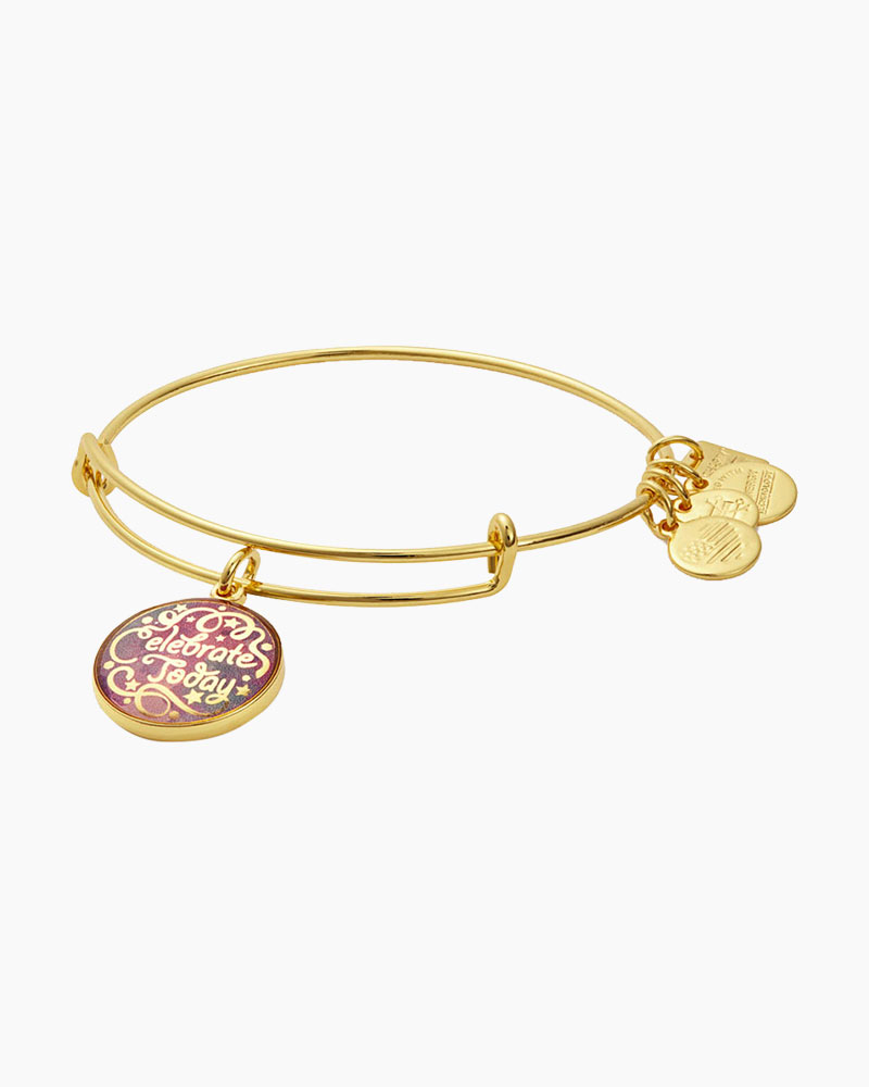 Alex and Ani Celebrate Today Expandable Wire Bangle in Shiny Gold