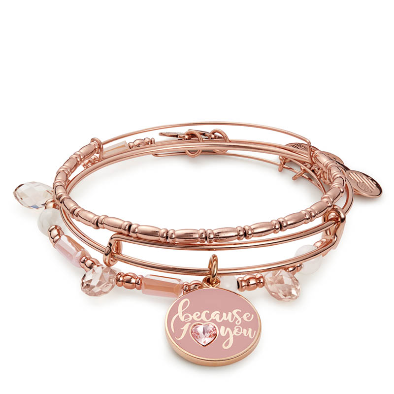 Alex and Ani Because I Love You Set of Three Expandable Wire Bangle Set in Shiny Rose Gold