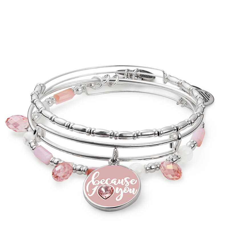 Alex and Ani Because I Love You Set of Three Expandable Wire Bangle Set
