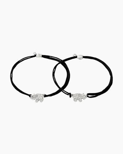 Elephants Pull Cord Bracelets Set of 2