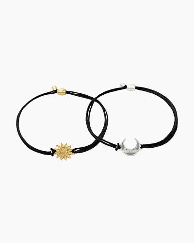 Sun and Moon Pull Cord Bracelets Set of 2