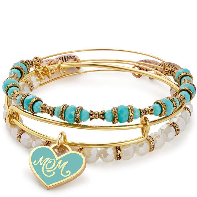 ALEX AND ANI Mom Set of 3 Charm Bangles in Shiny Gold Finish