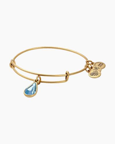 March Birth Month Charm Bangle With Swarovski Crystal
