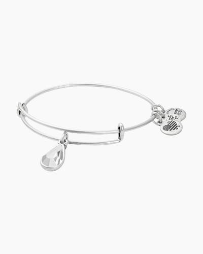 April Birth Month Charm Bangle With Swarovski Crystal