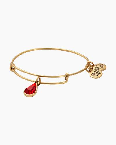 July Birth Month Charm Bangle With Swarovski Crystal