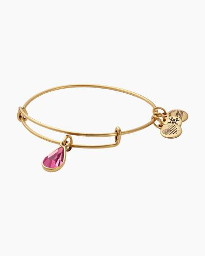 October Birth Month Charm Bangle With Swarovski Crystal