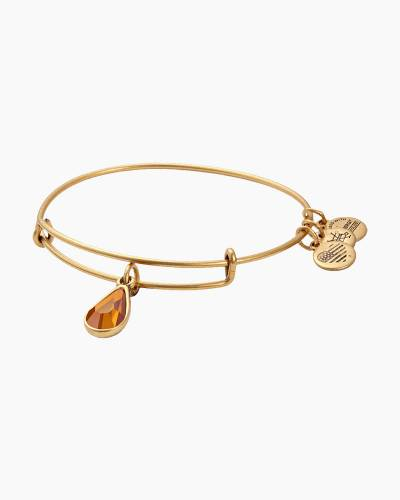 November Birth Month Charm Bangle With Swarovski Crystal