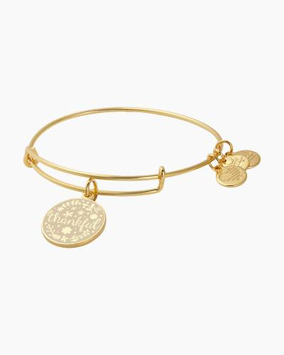 Thankful Expandable Wire Charm Bangle in Shiny Gold Finish