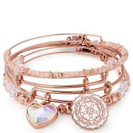 Alex and Ani Paper Hearts Set of 4 in Rose Gold Finish