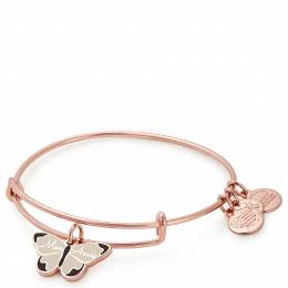 Alex and Ani Mon Amie Butterfly Color Infusion Charm Bangle in Rose Gold Finish