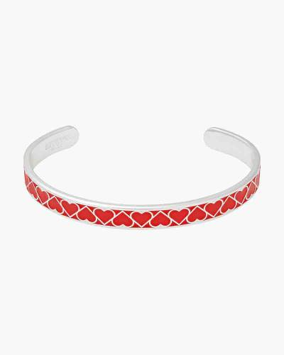 Red Heart Color Infusion Cuff in Shiny Silver Finish
