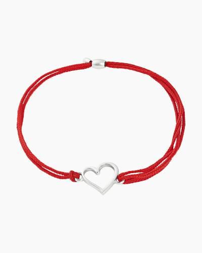 Heart Pull Cord Bracelet in Rafaelian Silver Finish