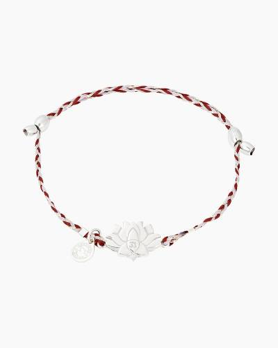 Lotus Peace Petals Precious Threads Bracelet in Sterling Silver Finish