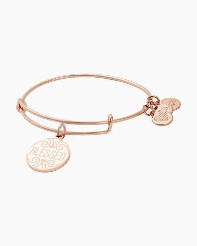Blessed Charm Bangle in Shiny Rose Gold Finish