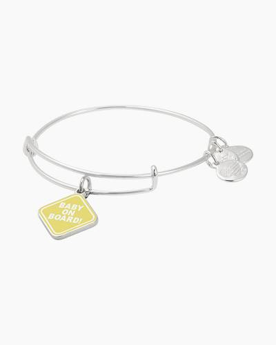 Baby on Board Charm Bangle in Shiny Silver Finish