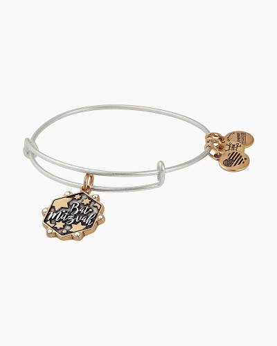Bat Mitzvah Two Tone Charm Bangle in Rafaelian Gold and Silver Finish