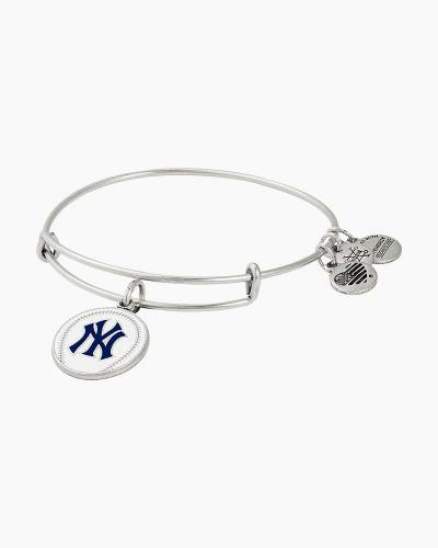New York Yankees Color Infusion Charm Bangle in Rafaelian Silver Finish