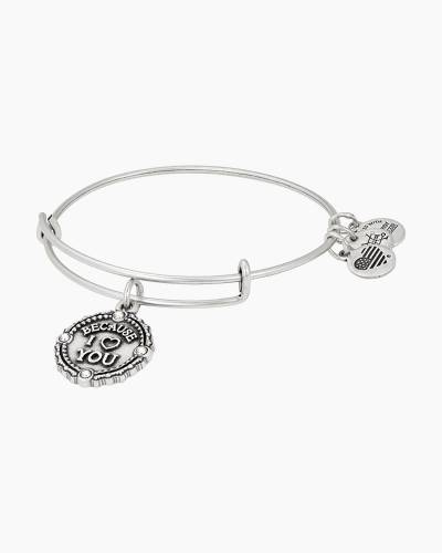 Because I Love You Charm Bangle in Rafaelian Silver Finish