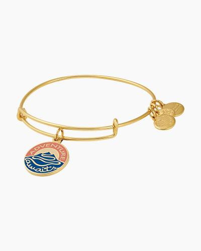 Adventure Awaits Charm Bangle in Shiny Gold Finish
