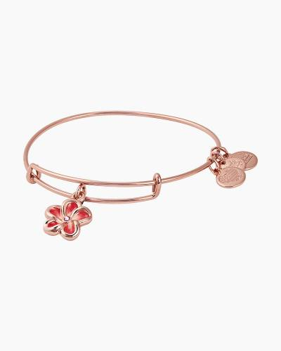 Tropical Flower Color Infusion Charm Bangle in Shiny Rose Gold Finish