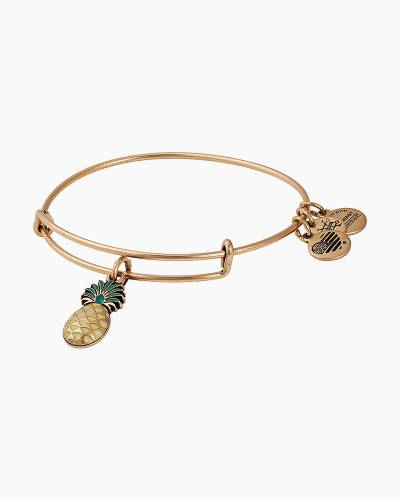 Pineapple Color Infusion Charm Bangle in Rafaelian Gold Finish