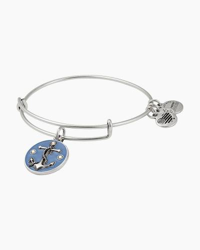 Anchor Color Infusion Charm Bangle in Rafaelian Silver Finish