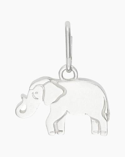 Elephant Necklace Charm in Sterling Silver Finish