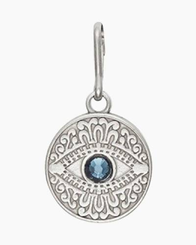 Evil Eye Necklace Charm in Sterling SIlver Finish