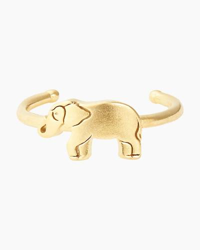 Elephant Adjustable Ring in 14Kt Gold Finish