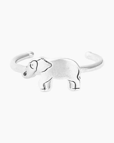 Elephant Adjustable Ring in Sterling Silver Finish