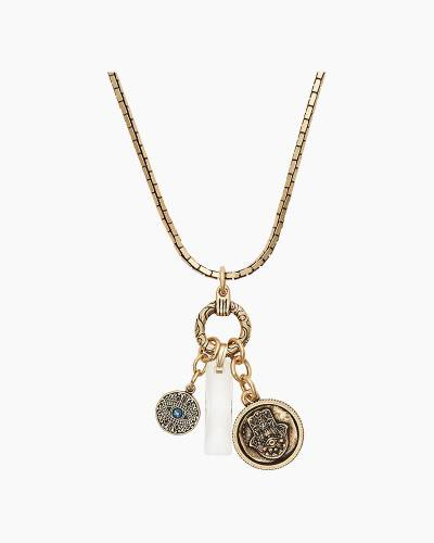 Protection Trio Adjustable Necklace in Rafaelian Gold Finish