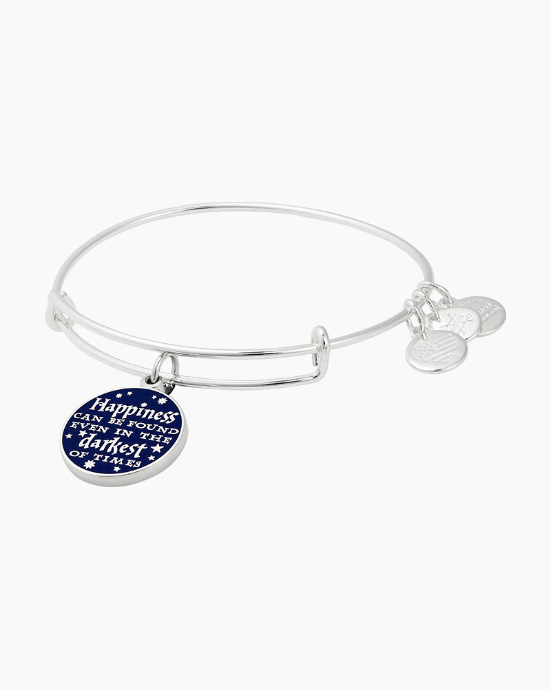 3e23f2128b656e ALEX AND ANI Harry Potter Happiness Can Be Found Charm Bangle in Shiny Silver  Finish | The Paper Store