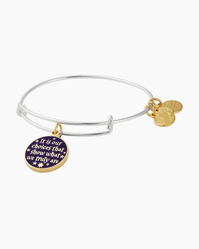 Harry Potter It's Our Choices Two Tone Charm Bangle in Shiny Silver Finish