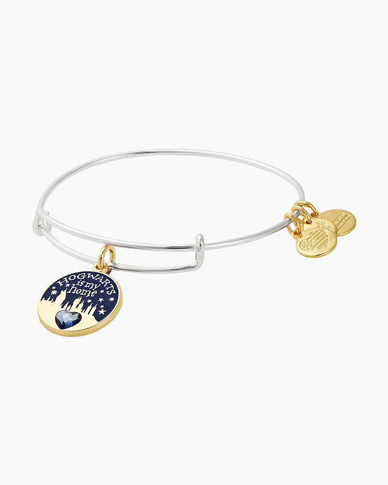 fa072832ef1db0 ALEX AND ANI Harry Potter Hogwarts is My Home Two Tone Charm Bangle in  Shiny Silver Finish | The Paper Store