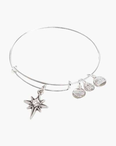 Alex And Ani Limited Edition North Star Bangle In Shiny Silver Finish