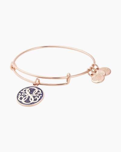 Path of Life Charm Bangle in Shiny Rose Gold Finish