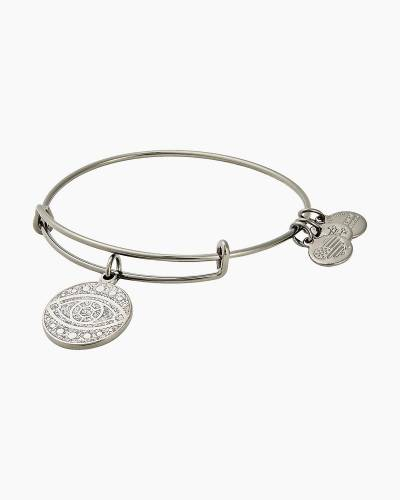 Evil Eye Color Infusion Charm Bangle in Midnight Silver FInish