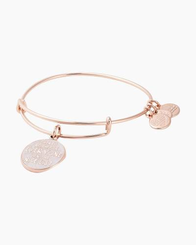 There's Room For Everyone On The Nice List Charm Bangle in Shiny Rose Gold Finish