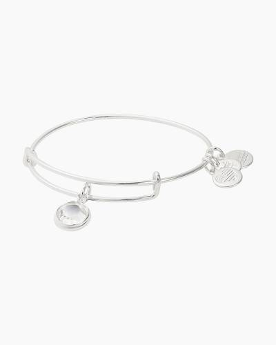 April Clear Crystal Swarovski Birthstone Bangle in Shiny Silver Finish