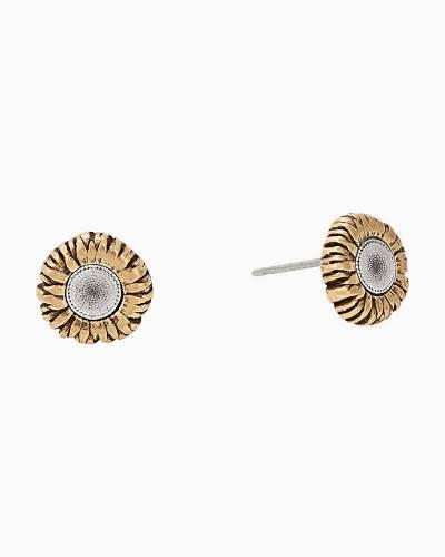 Sunflower Post Earrings in Two-Tone Rafaelian Gold Finish