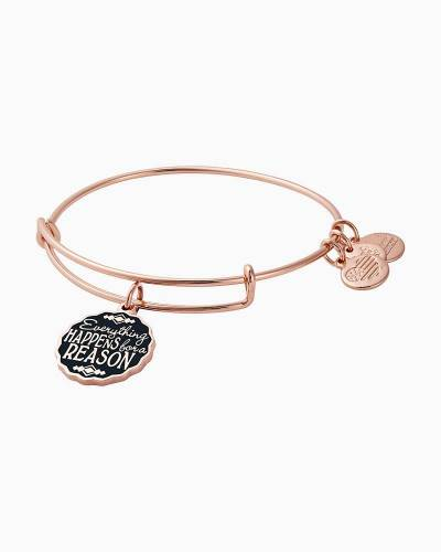 Everything Happens for a Reason Charm Bangle in Shiny Rose Gold Finish