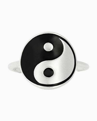 Yin and Yang Adjustable Statement Ring in Sterling Silver