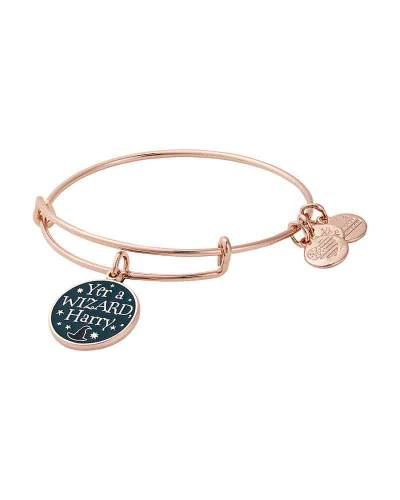 Harry Potter Yer A Wizard Harry Charm Bangle in Shiny Rose Gold Finish